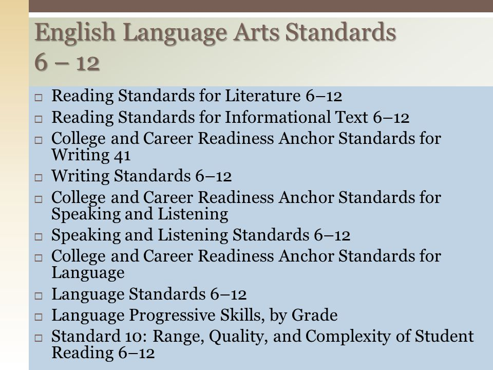  Reading Standards for Literature 6–12  Reading Standards for Informational Text 6–12  College and Career Readiness Anchor Standards for Writing 41