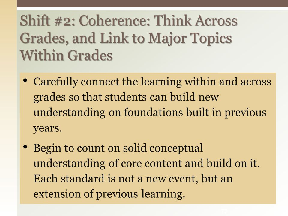 Shift #2: Coherence: Think Across Grades, and Link to Major Topics Within Grades Carefully connect the learning within and across grades so that students can build new understanding on foundations built in previous years.