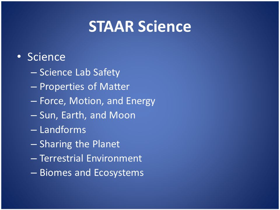 STAAR Science Science – Science Lab Safety – Properties of Matter – Force, Motion, and Energy – Sun, Earth, and Moon – Landforms – Sharing the Planet