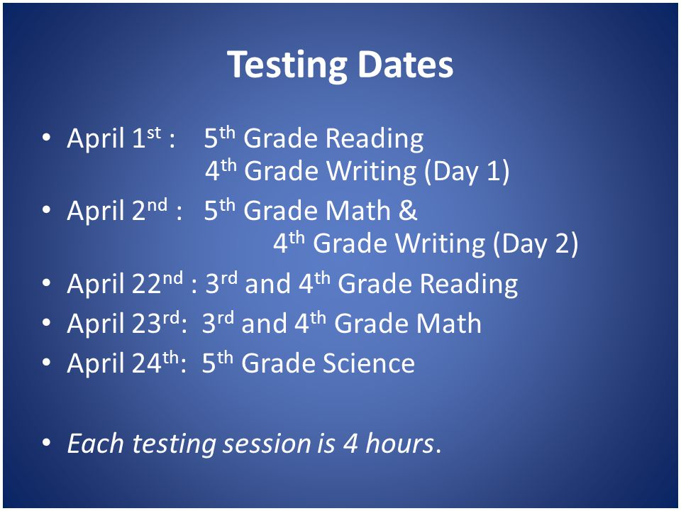 Testing Dates April 1 st : 5 th Grade Reading 4 th Grade Writing (Day 1) April 2 nd : 5 th Grade Math & 4 th Grade Writing (Day 2) April 22 nd : 3 rd and 4 th Grade Reading April 23 rd : 3 rd and 4 th Grade Math April 24 th : 5 th Grade Science Each testing session is 4 hours.