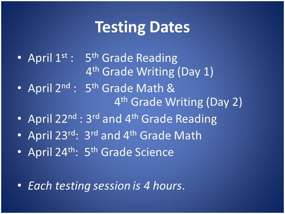 Testing Dates April 1 st : 5 th Grade Reading 4 th Grade Writing (Day 1) April 2 nd : 5 th Grade Math & 4 th Grade Writing (Day 2) April 22 nd : 3 rd