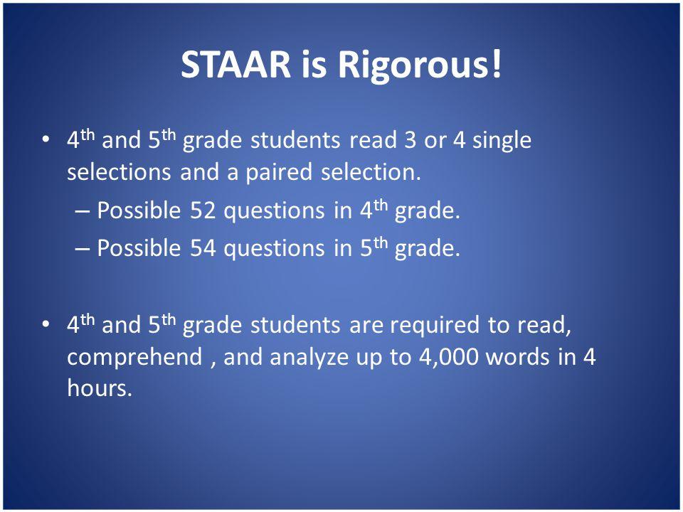 STAAR is Rigorous.