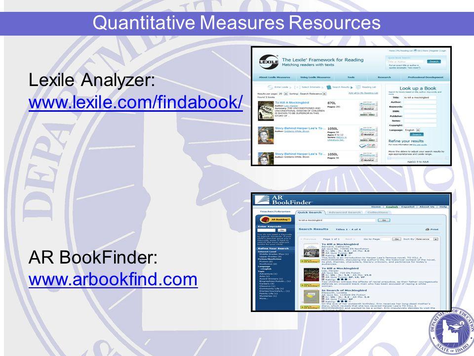 Lexile Analyzer: www.lexile.com/findabook/ AR BookFinder: www.arbookfind.com Quantitative Measures Resources