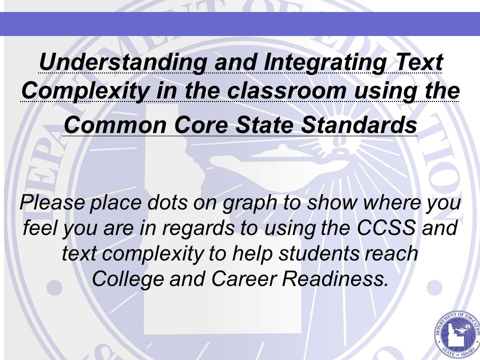 Understanding and Integrating Text Complexity in the classroom using the Common Core State Standards Please place dots on graph to show where you feel you are in regards to using the CCSS and text complexity to help students reach College and Career Readiness.