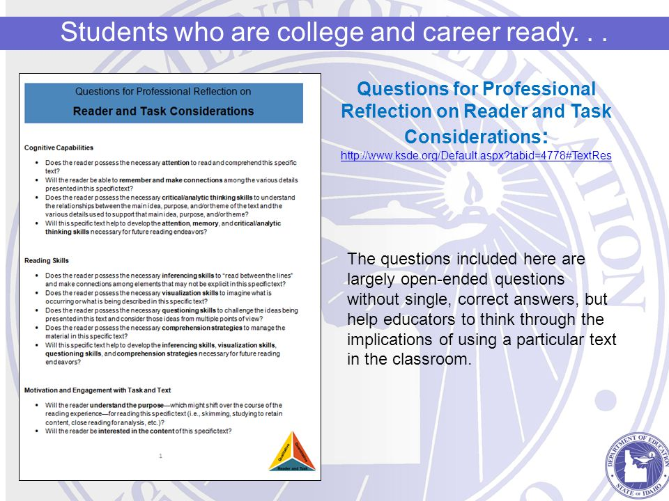 Students who are college and career ready...