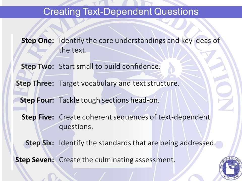 Step One:Identify the core understandings and key ideas of the text.