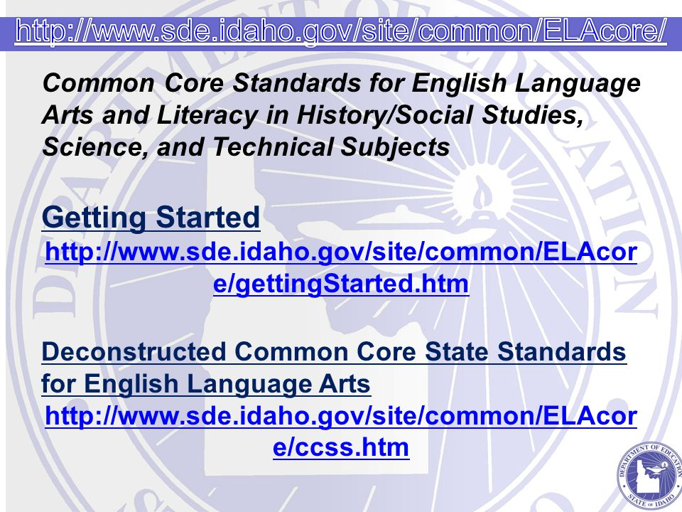 Common Core Standards for English Language Arts and Literacy in History/Social Studies, Science, and Technical Subjects Getting Started http://www.sde.idaho.gov/site/common/ELAcor e/gettingStarted.htm Deconstructed Common Core State Standards for English Language Arts http://www.sde.idaho.gov/site/common/ELAcor e/ccss.htm