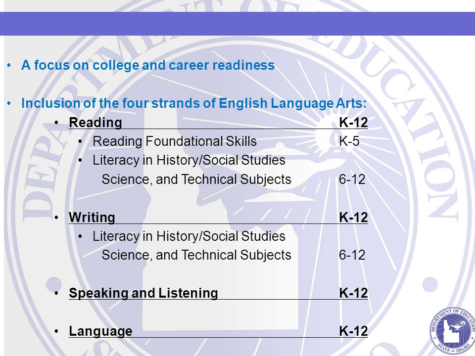 A focus on college and career readiness Inclusion of the four strands of English Language Arts: ReadingK-12 Reading Foundational Skills K-5 Literacy in History/Social Studies Science, and Technical Subjects6-12 WritingK-12 Literacy in History/Social Studies Science, and Technical Subjects6-12 Speaking and Listening K-12 LanguageK-12