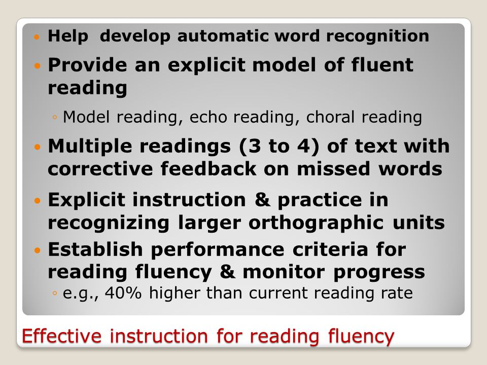Word reading rate for 1-minute speed drills 30 correct wpm Grades 1 & 2: 30 correct wpm 40 correct wpm Start-Grade 3: 40 correct wpm 60 correct wpm Mid-Grade 3: 60 correct wpm 80 correct wpm Grade 4 onwards: 80 correct wpm Expected reading rate for connected text in Grade 4: 135 words per minute