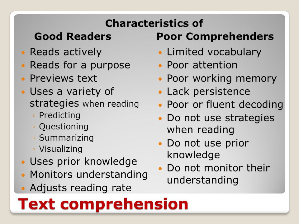 5. Text Comprehension A process by which readers construct meaning by interacting with the text through the combination of: Prior knowledge & previous