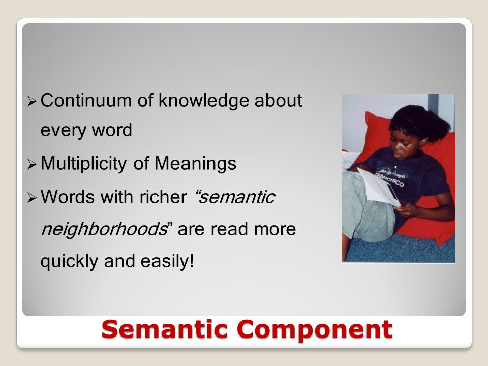 Morphological Component  Rapid recognition of morphemes added to words like fan  Automatic access to meanings of morphemes  Contributes to rapid recognition of words and to semantic development  Empower students to attack new and large words.