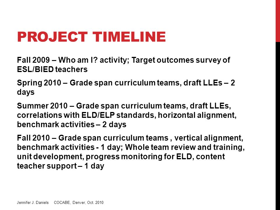 D51 ELD CURRICULUM PROJECT Step 1 – Teacher input on target outcomes By the end of one year of your instruction and facilitation, what can you expect for an EL in (grade span) with (level of English language skill) to be able to do in (domain).