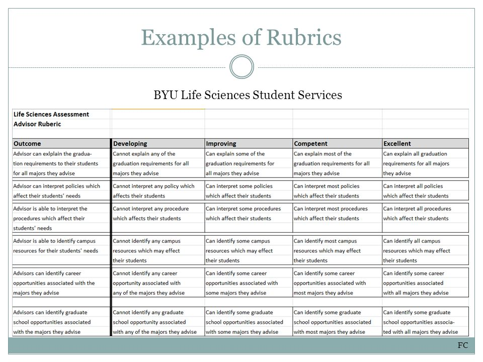 Examples of Rubrics BYU Life Sciences Student Services FC