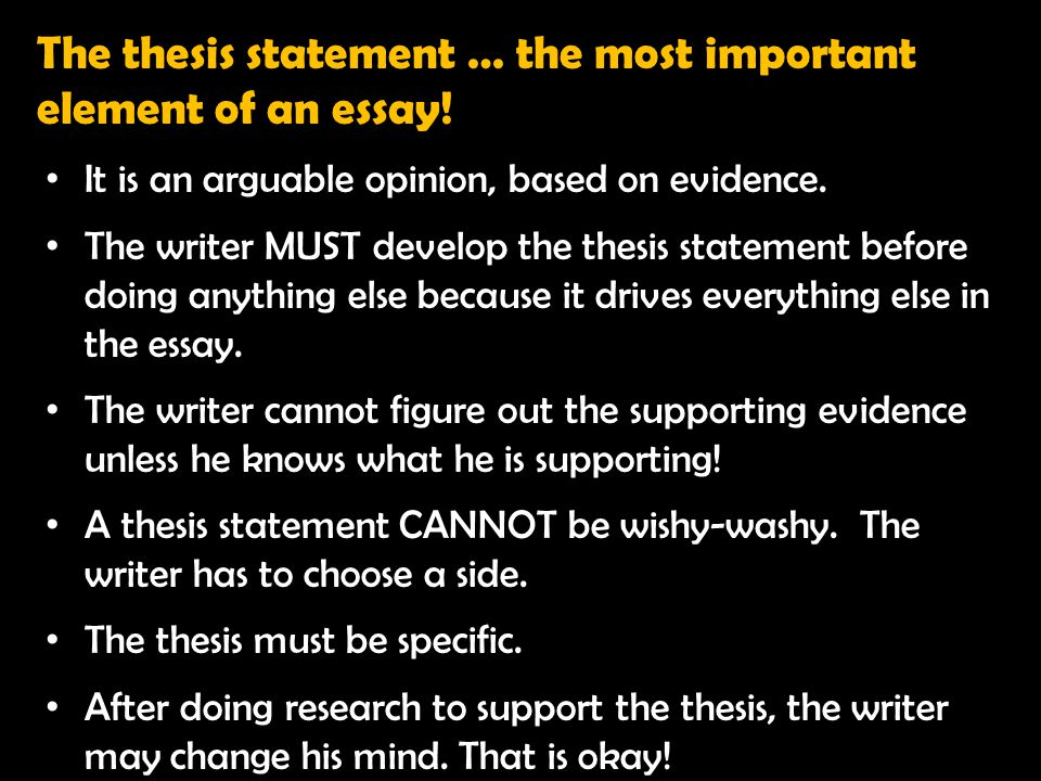 It is an arguable opinion, based on evidence. The writer MUST develop the thesis statement before doing anything else because it drives everything els