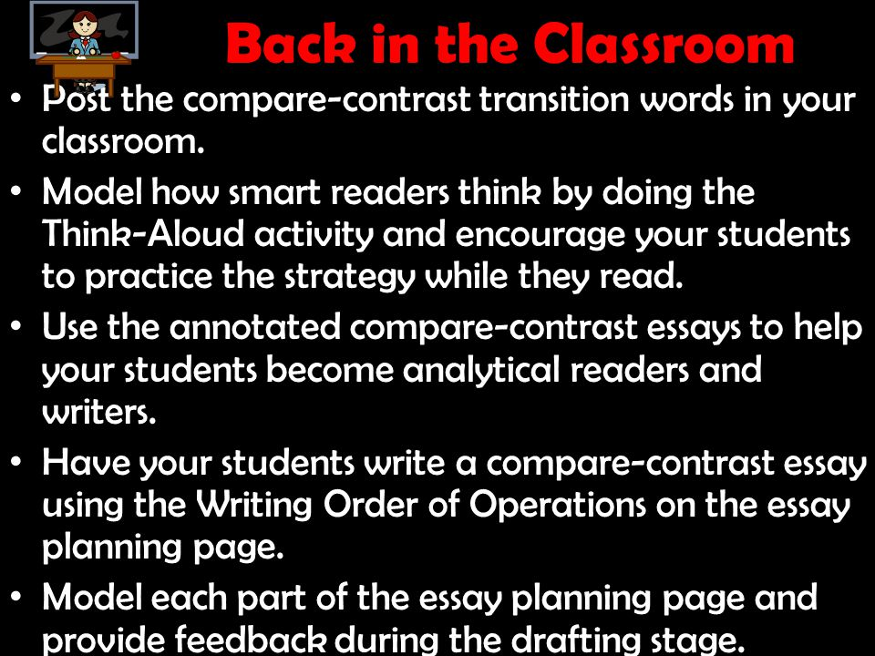 Back in the Classroom Post the compare-contrast transition words in your classroom. Model how smart readers think by doing the Think-Aloud activity an