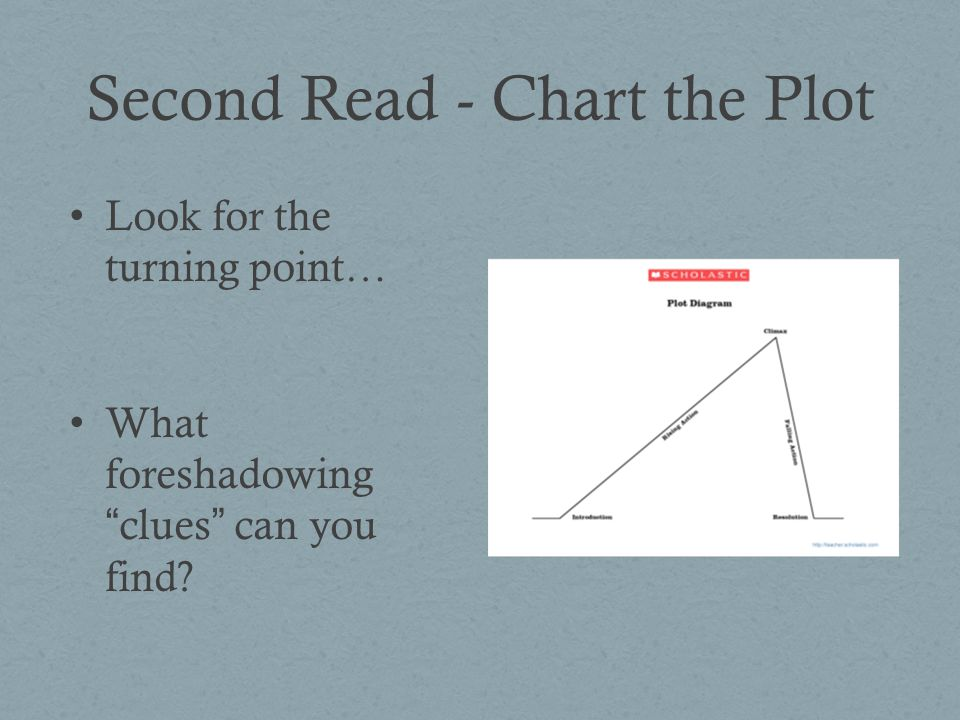 Second Read - Chart the Plot Look for the turning point… What foreshadowing clues can you find