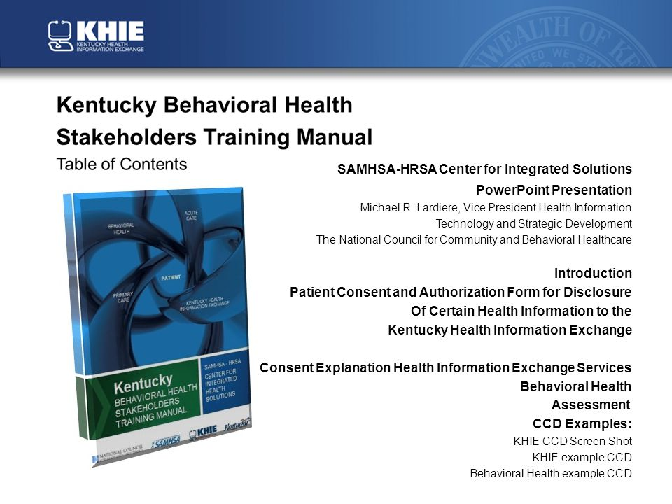 SAMHSA-HRSA Center for Integrated Solutions PowerPoint Presentation Michael R.