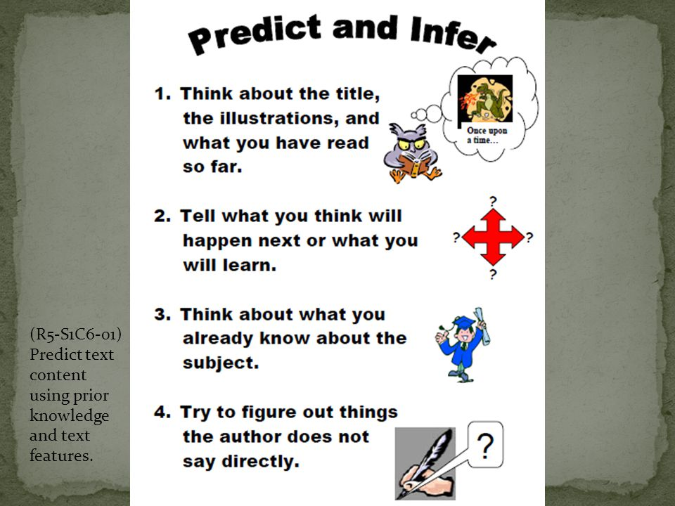 (R5-S1C6-01) Predict text content using prior knowledge and text features.