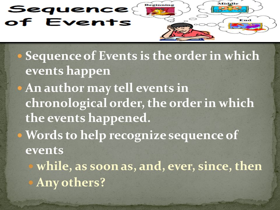 Sequence of Events is the order in which events happen An author may tell events in chronological order, the order in which the events happened. Words