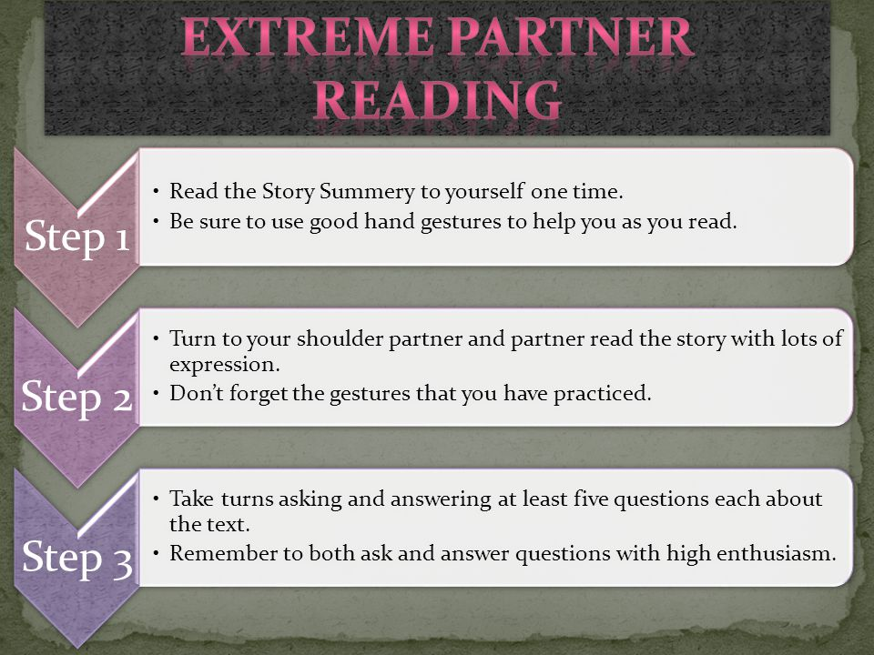Step 1 Read the Story Summery to yourself one time. Be sure to use good hand gestures to help you as you read. Step 2 Turn to your shoulder partner an