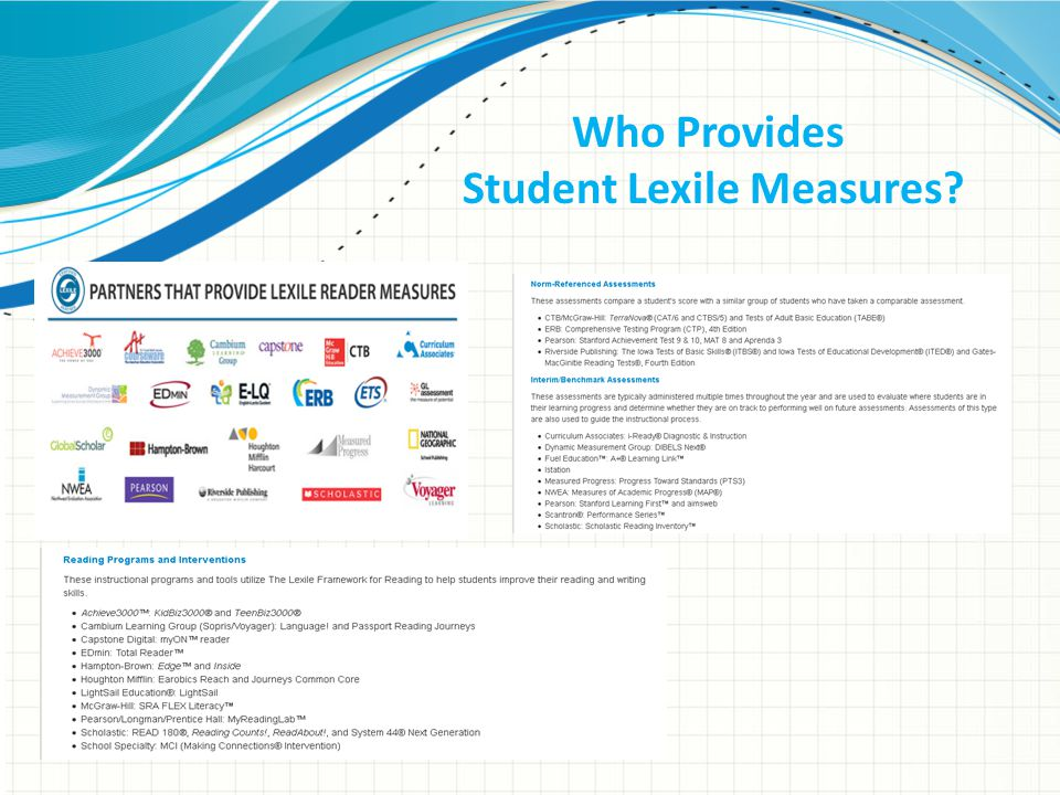 Who Provides Student Lexile Measures