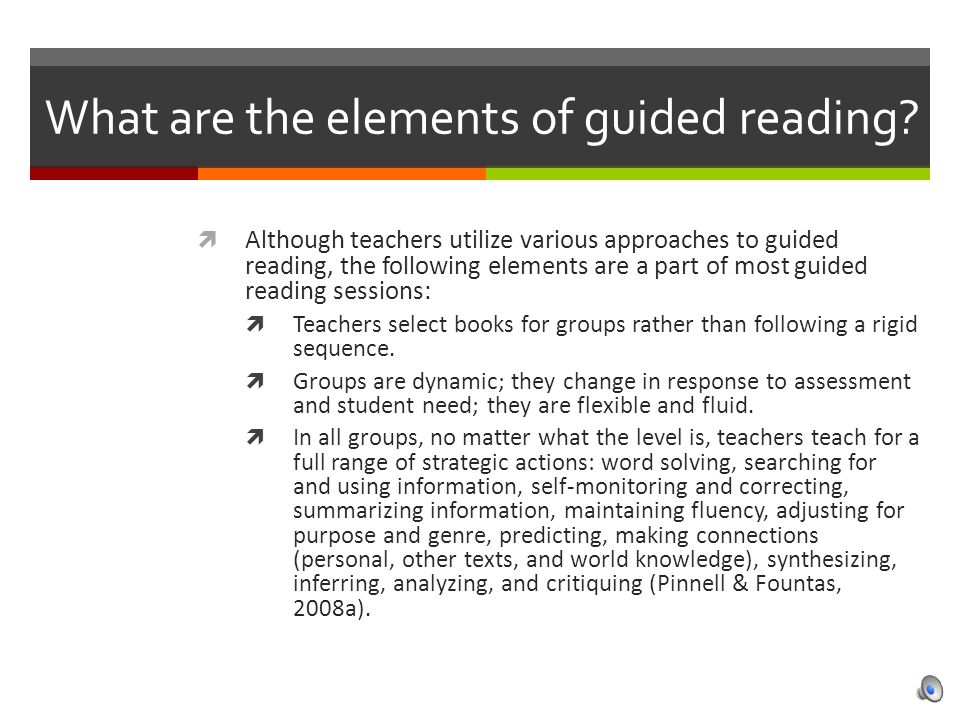 What are the elements of guided reading.