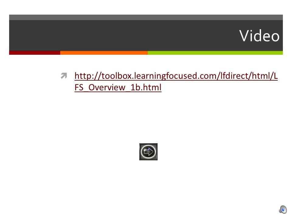 Video  http://toolbox.learningfocused.com/lfdirect/html/L FS_Overview_1b.html http://toolbox.learningfocused.com/lfdirect/html/L FS_Overview_1b.html