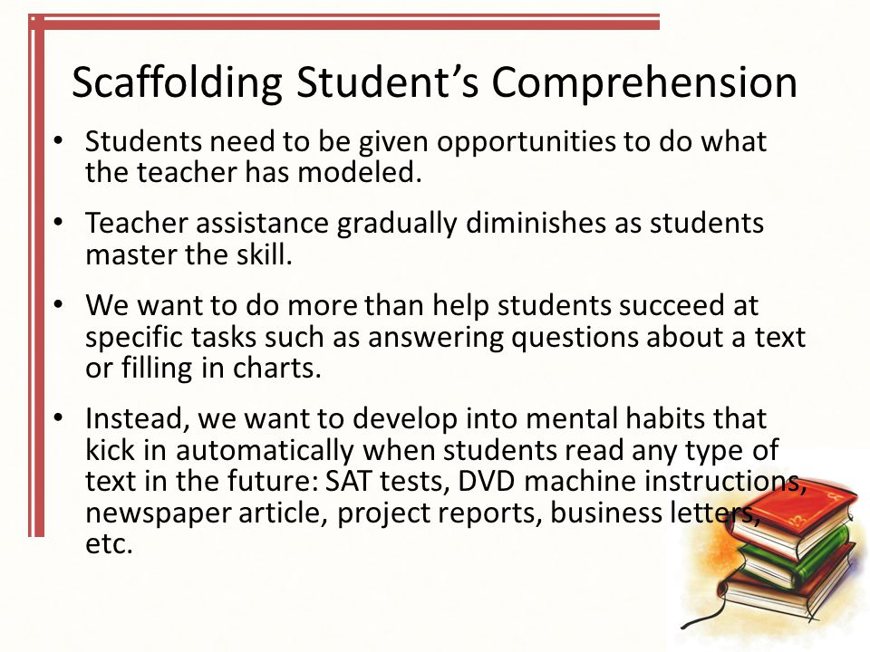 Scaffolding Student's Comprehension Students need to be given opportunities to do what the teacher has modeled.