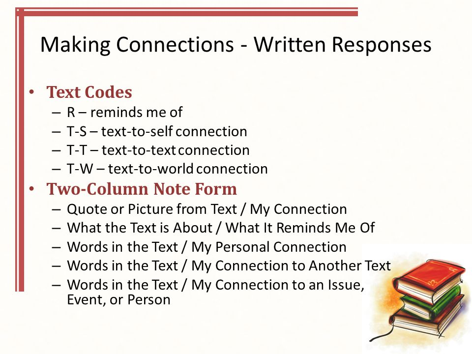 Making Connections - Written Responses Text Codes – R – reminds me of – T-S – text-to-self connection – T-T – text-to-text connection – T-W – text-to-world connection Two-Column Note Form – Quote or Picture from Text / My Connection – What the Text is About / What It Reminds Me Of – Words in the Text / My Personal Connection – Words in the Text / My Connection to Another Text – Words in the Text / My Connection to an Issue, Event, or Person