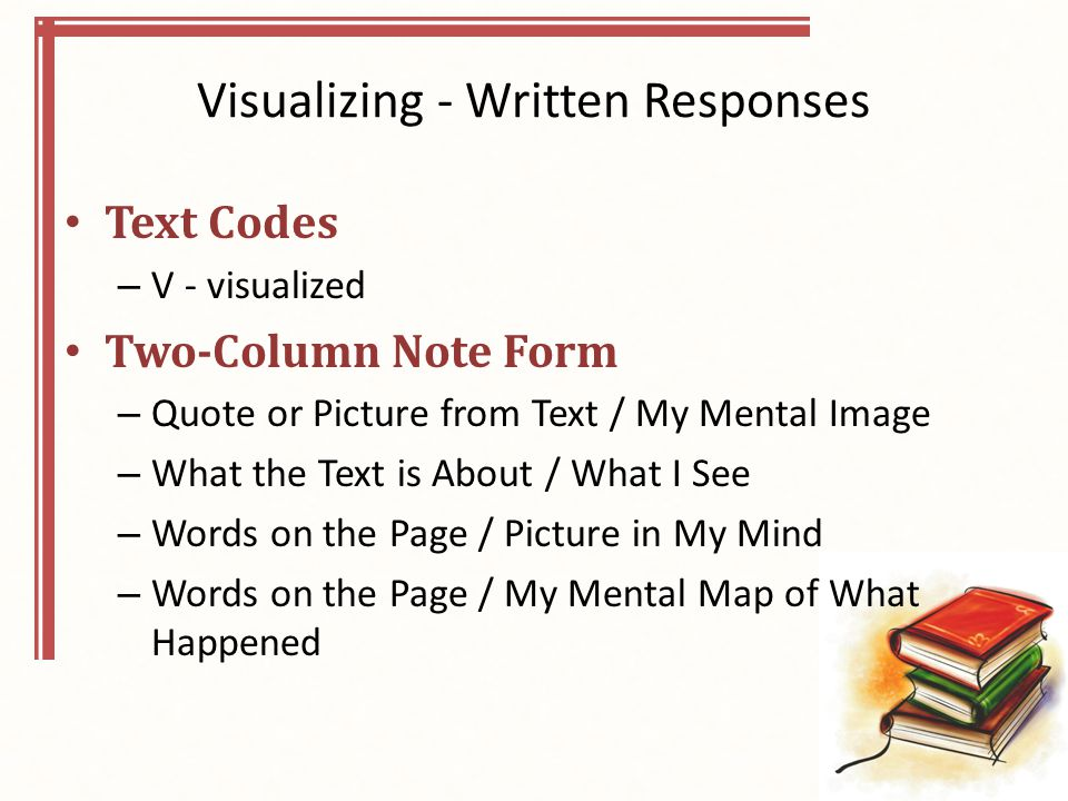 Visualizing - Written Responses Text Codes – V - visualized Two-Column Note Form – Quote or Picture from Text / My Mental Image – What the Text is About / What I See – Words on the Page / Picture in My Mind – Words on the Page / My Mental Map of What Happened