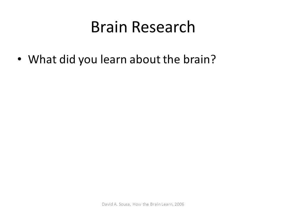 Brain Research What did you learn about the brain? David A. Sousa, How the Brain Learn, 2006