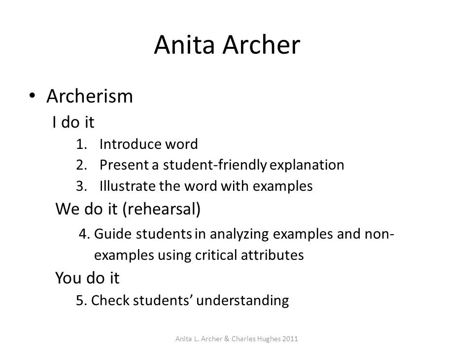 Anita Archer Archerism I do it 1.Introduce word 2.Present a student-friendly explanation 3.Illustrate the word with examples We do it (rehearsal) 4. G