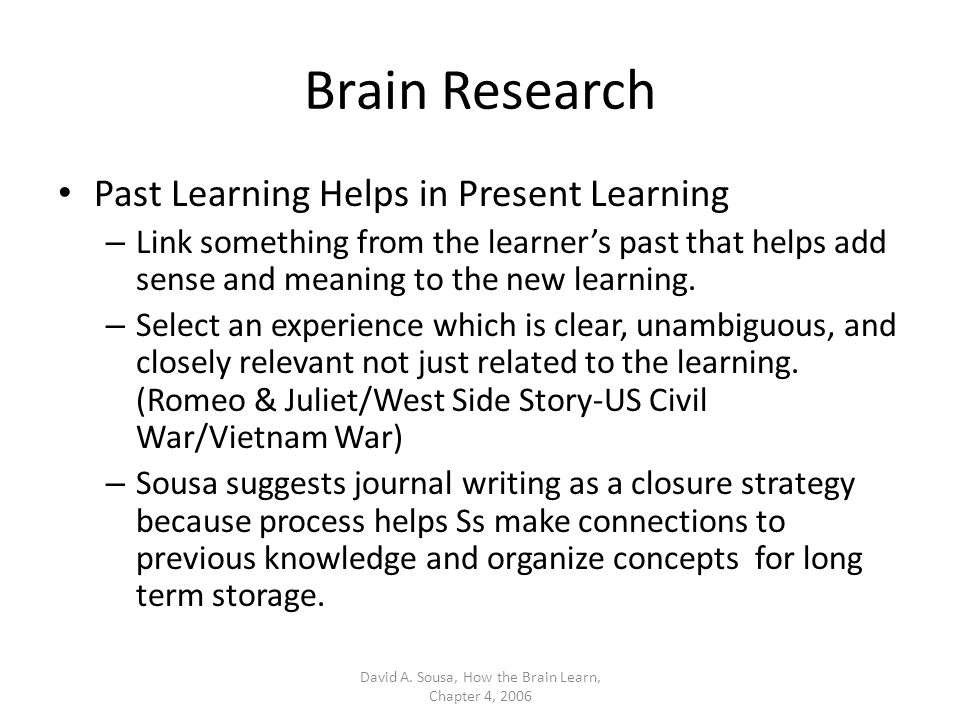 Review Understand how the ELL brain learns according to Dr.