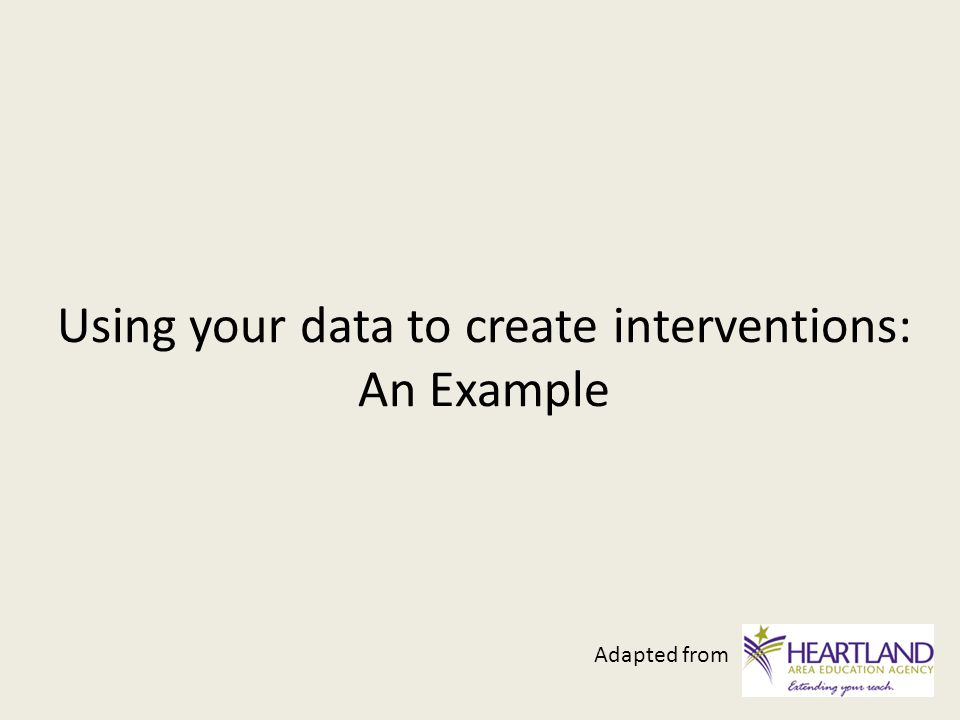 Using your data to create interventions: An Example Adapted from