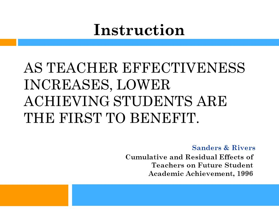 AS TEACHER EFFECTIVENESS INCREASES, LOWER ACHIEVING STUDENTS ARE THE FIRST TO BENEFIT.