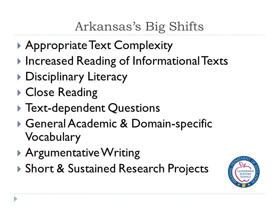 Arkansas's Big Shifts  Appropriate Text Complexity  Increased Reading of Informational Texts  Disciplinary Literacy  Close Reading  Text-dependent Questions  General Academic & Domain-specific Vocabulary  Argumentative Writing  Short & Sustained Research Projects