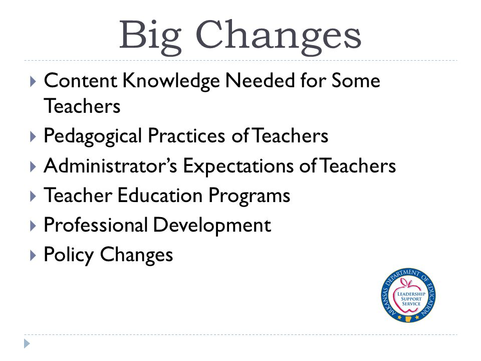 Big Changes  Content Knowledge Needed for Some Teachers  Pedagogical Practices of Teachers  Administrator's Expectations of Teachers  Teacher Education Programs  Professional Development  Policy Changes