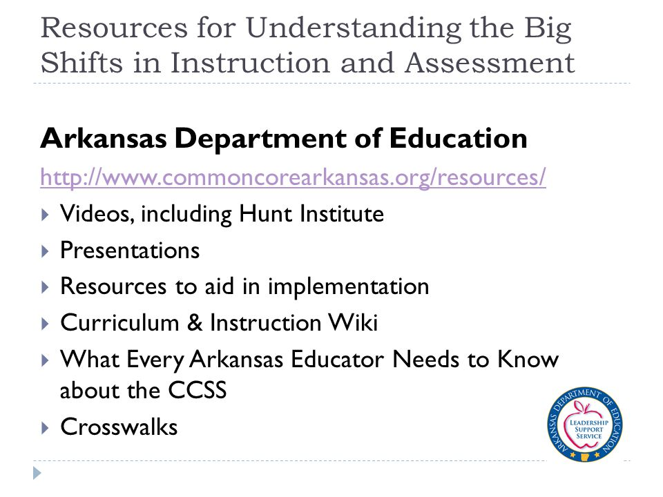 Resources for Understanding the Big Shifts in Instruction and Assessment Arkansas Department of Education http://www.commoncorearkansas.org/resources/  Videos, including Hunt Institute  Presentations  Resources to aid in implementation  Curriculum & Instruction Wiki  What Every Arkansas Educator Needs to Know about the CCSS  Crosswalks