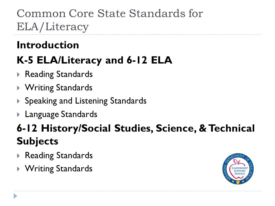 Common Core State Standards for ELA/Literacy Introduction K-5 ELA/Literacy and 6-12 ELA  Reading Standards  Writing Standards  Speaking and Listening Standards  Language Standards 6-12 History/Social Studies, Science, & Technical Subjects  Reading Standards  Writing Standards