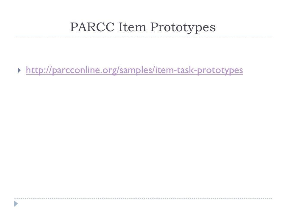PARCC Item Prototypes  http://parcconline.org/samples/item-task-prototypes http://parcconline.org/samples/item-task-prototypes