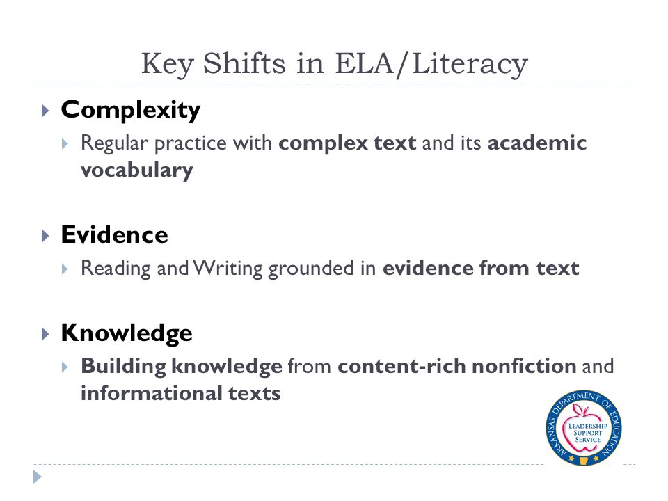 Key Shifts in ELA/Literacy  Complexity  Regular practice with complex text and its academic vocabulary  Evidence  Reading and Writing grounded in