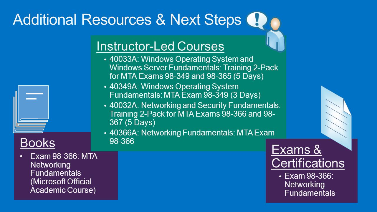 Additional Resources & Next Steps Books Exam 98-366: MTA Networking Fundamentals (Microsoft Official Academic Course) Instructor-Led Courses 40033A: W