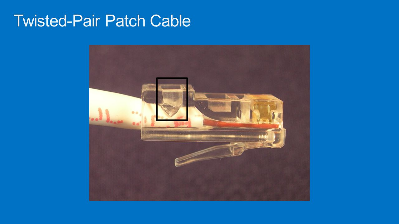 Straight through cable Most common type of patch cable Used to connect a computer to a central connecting device like a switch Crossover cable Used to direct connect similar devices without the use of a hub Types of Patch Cables