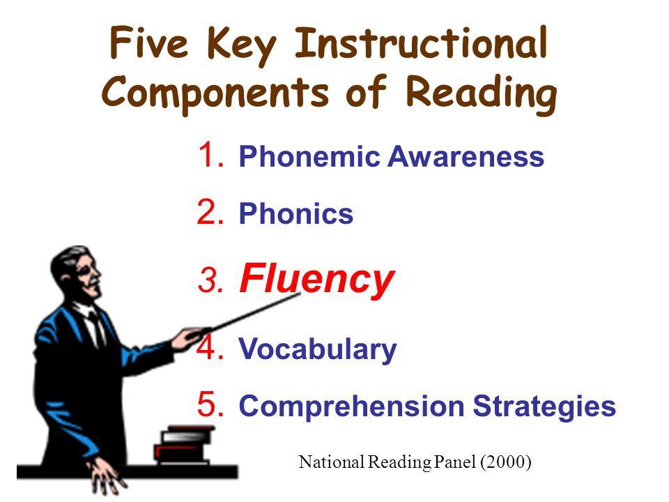 1.Phonemic Awareness 2. Phonics 3. Fluency 4. Vocabulary 5.