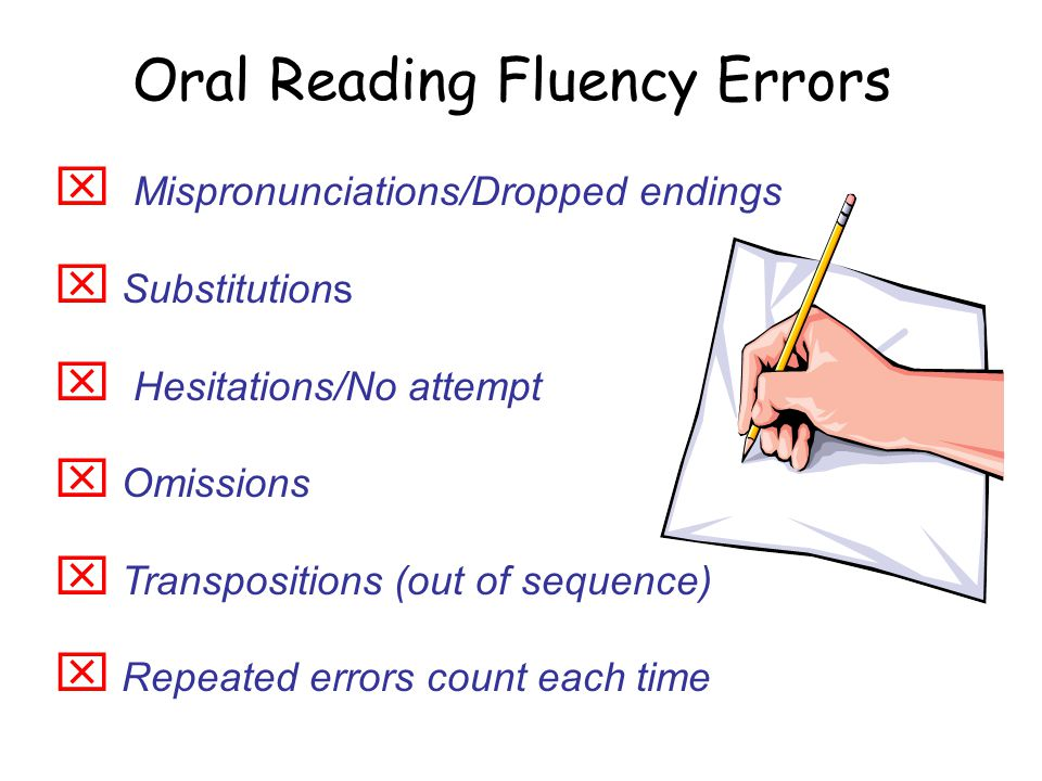 Oral Reading Fluency Errors  Mispronunciations/Dropped endings  Substitutions  Hesitations/No attempt  Omissions  Transpositions (out of sequence)  Repeated errors count each time