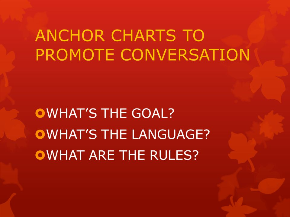 ANCHOR CHARTS TO PROMOTE CONVERSATION  WHAT'S THE GOAL.