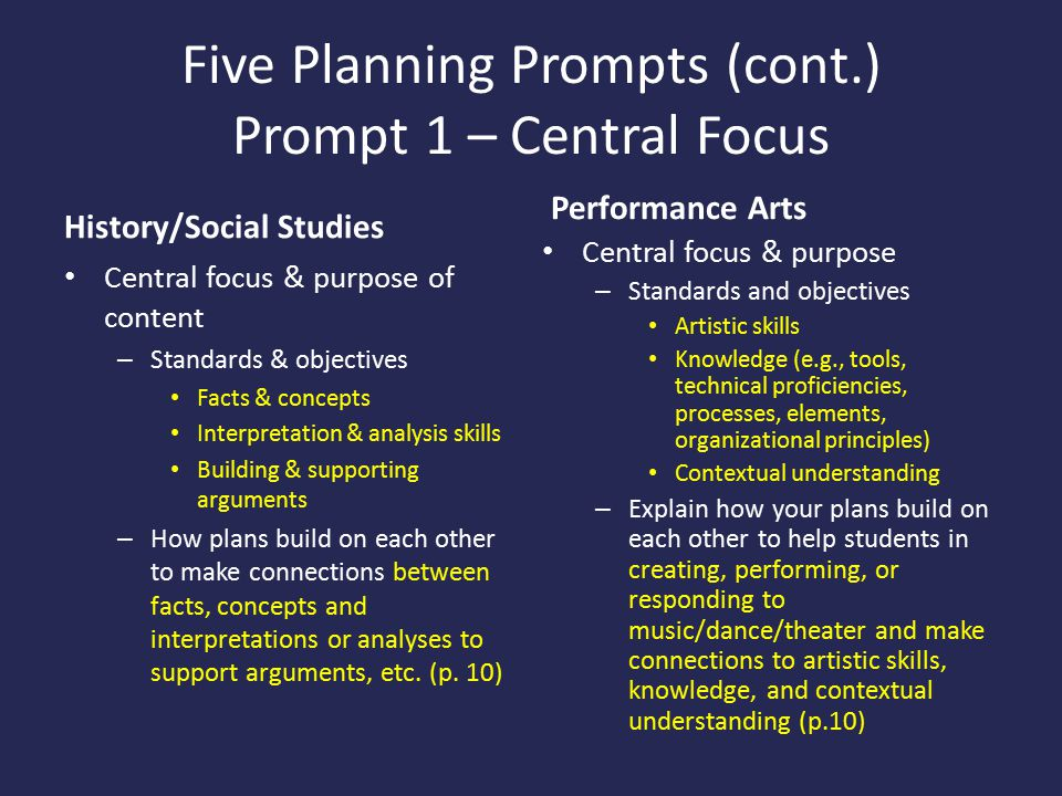 Five Planning Prompts (cont.) Prompt 1 – Central Focus History/Social Studies Central focus & purpose of content – Standards & objectives Facts & concepts Interpretation & analysis skills Building & supporting arguments – How plans build on each other to make connections between facts, concepts and interpretations or analyses to support arguments, etc.