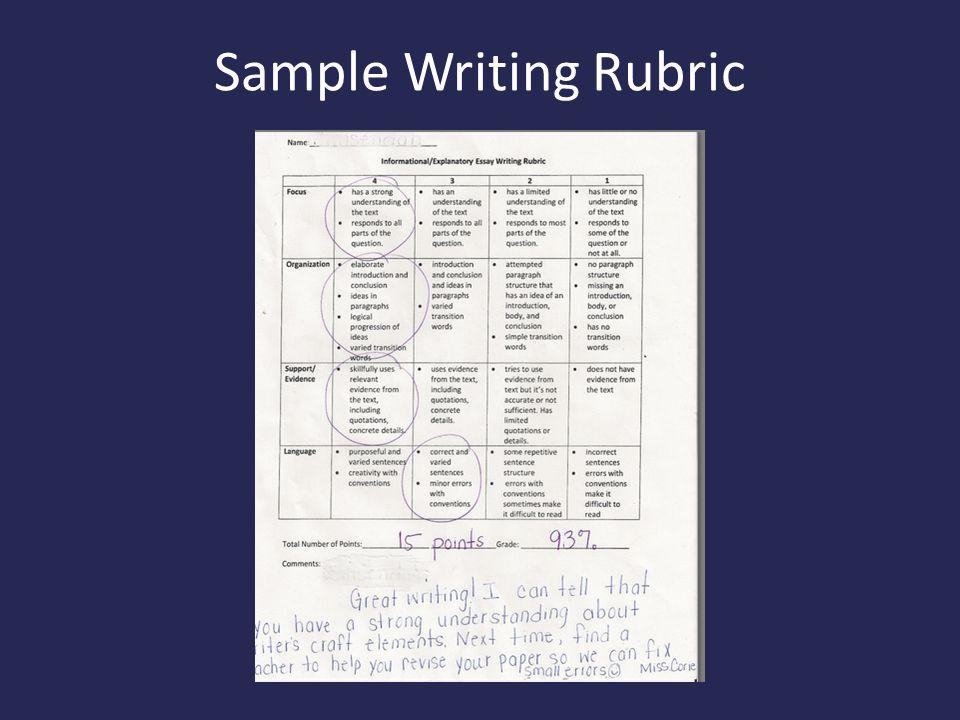 Sample Writing Rubric