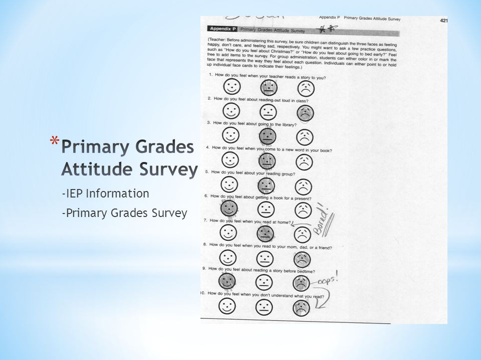 -IEP Information -Primary Grades Survey