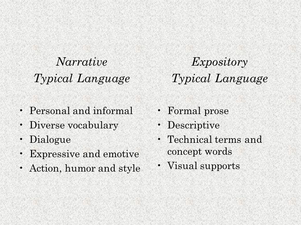Narrative Typical Language Personal and informal Diverse vocabulary Dialogue Expressive and emotive Action, humor and style Expository Typical Language Formal prose Descriptive Technical terms and concept words Visual supports